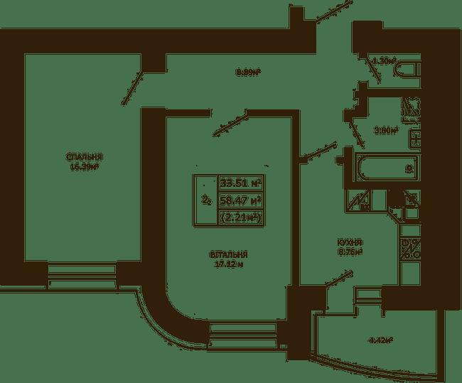 ЖК Чайка: планировка 2-комнатной квартиры 58.47 м2, тип 2-58.47