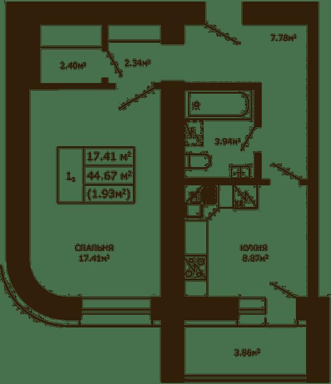 ЖК Чайка: планировка 1-комнатной квартиры 44.67 м2, тип 1-44.67