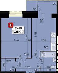 ЖК Ріверсайд: планування 1-кімнатної квартири 40.58 м2, тип 1-40.58