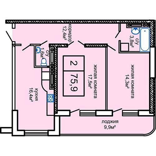 ЖК Вернисаж: планировка 2-комнатной квартиры 75.9 м2, тип 2-75.9