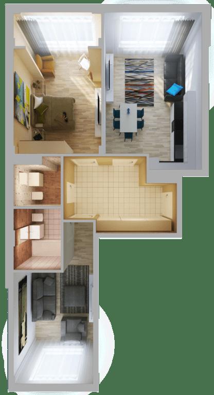 ЖК Orange Park: планировка 2-комнатной квартиры 64.4 м2, тип 2С
