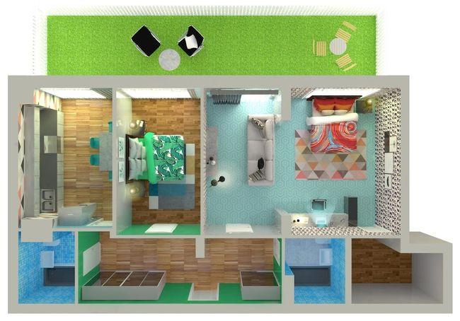 ЖК Orange Park: планировка 2-комнатной квартиры 84.6 м2, тип 2Б*