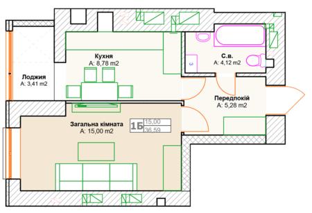 ЖК Фортуна-2: планировка 1-комнатной квартиры 36.59 м2, тип 1Б