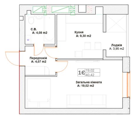 ЖК Фортуна-2: планировка 1-комнатной квартиры 40.42 м2, тип 1Є