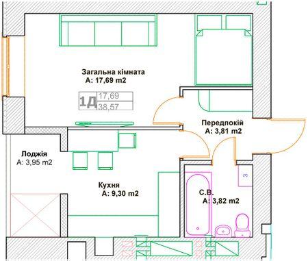 ЖК Фортуна-2: планировка 1-комнатной квартиры 38.57 м2, тип 1Д