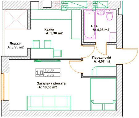 ЖК Фортуна-2: планировка 1-комнатной квартиры 39.76 м2, тип 1Д