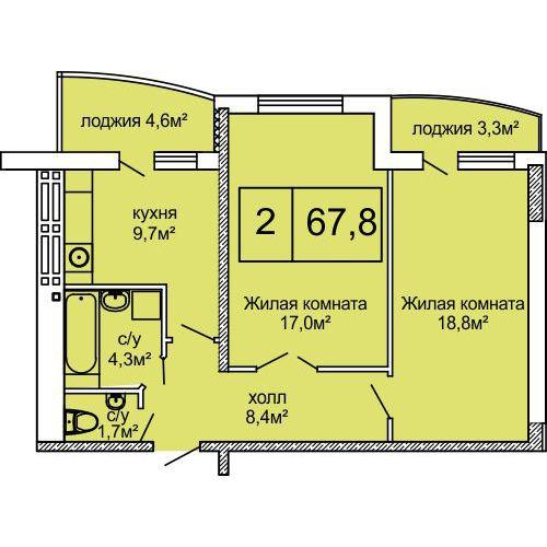 ЖК Вернисаж: планировка 2-комнатной квартиры 67.8 м2, тип 2-67.8