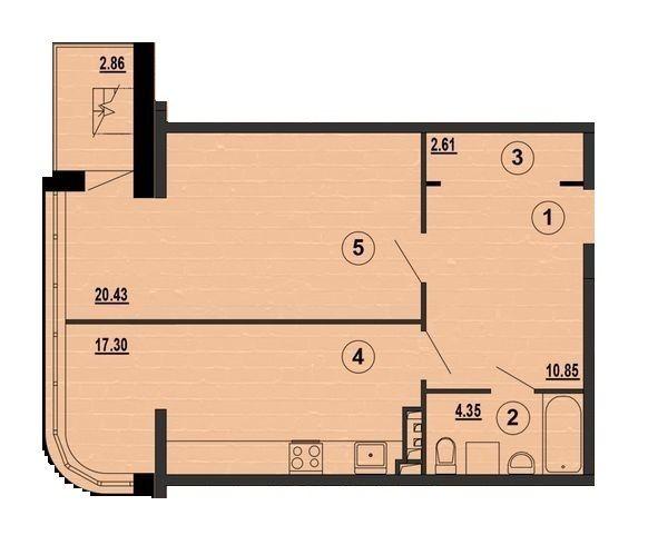 ЖК PesochinSky: планування 1-кімнатної квартири 55.27 м2, тип 1a
