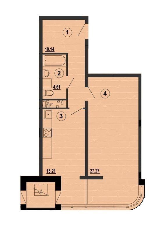 ЖК PesochinSky: планування 1-кімнатної квартири 57.2 м2, тип 1г