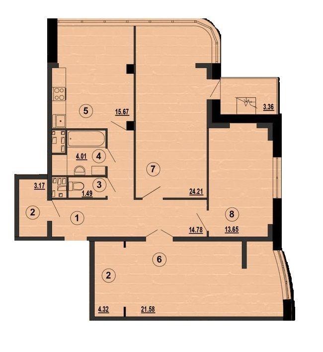 ЖК PesochinSky: планування 3-кімнатної квартири 102.88 м2, тип 3a