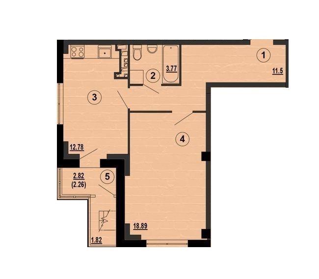 ЖК PesochinSky: планування 1-кімнатної квартири 49.29 м2, тип 1б