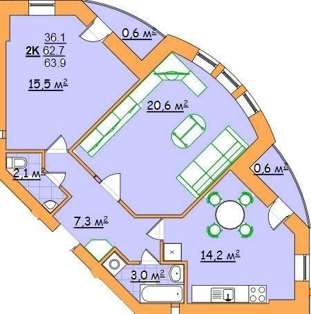 ул. Джона Леннона, 37: планировка 2-комнатной квартиры 63.9 м2, тип 2-63,9