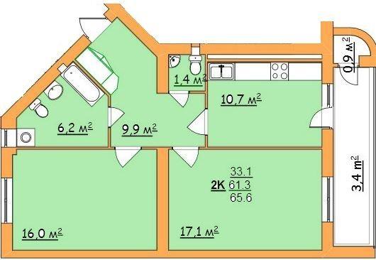 вул. Джона Леннона, 37: планування 2-кімнатної квартири 65.6 м2, тип 2-65,6