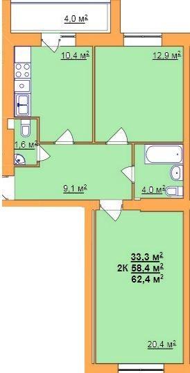 ул. Джона Леннона, 37: планировка 2-комнатной квартиры 62.4 м2, тип 2-62.4