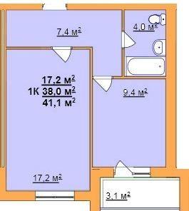 ул. Джона Леннона, 37: планировка 1-комнатной квартиры 41.1 м2, тип 1-41.1