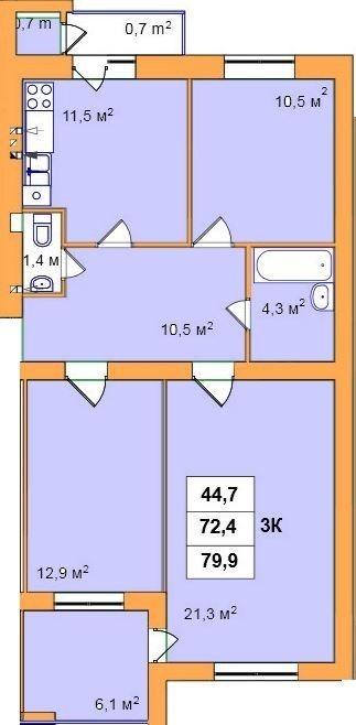 ул. Джона Леннона, 37: планировка 3-комнатной квартиры 79.9 м2, тип 3-79.9