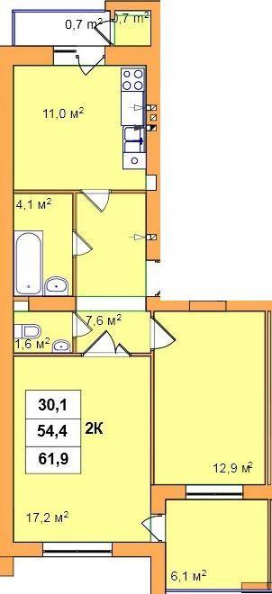 вул. Джона Леннона, 37: планування 2-кімнатної квартири 61.9 м2, тип 2-61.9