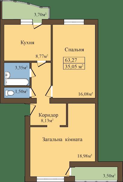 ЖК Садовый: планировка 2-комнатной квартиры 63.27 м2, тип 2-63.27
