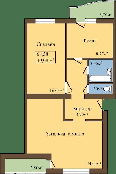 ЖК Садовий: планування 2-кімнатної квартири 68.58 м2, тип 2-68.58