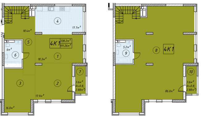 ЖК Малахит: планировка двухуровневой квартиры 191.26 м2, тип 4-191.26
