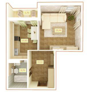 ЖК Palladium  планировка 1-комнатной квартиры 46.83 м2 d8d2914b9d578
