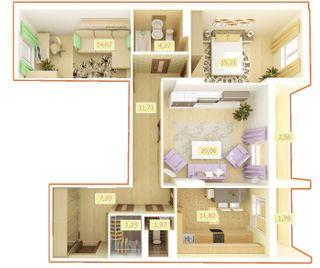 ЖК Palladium  планировка 3-комнатной квартиры 93.47 м2 b4b80384579e7