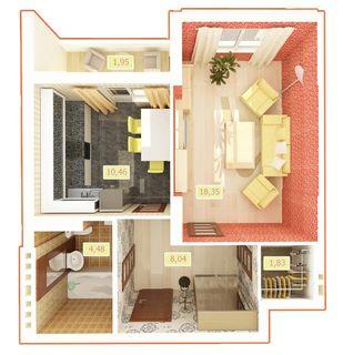 ЖК Palladium  планировка 1-комнатной квартиры 45.11 м2 4e05be7a21920