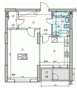 ЖК Palladium  планировка 1-комнатной квартиры 46.18 м2 3b2473b70ad41